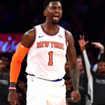 Bobby Portis casts a shadow against the former Knicks team